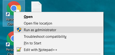 Chrome Run as Administrator