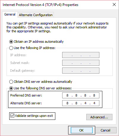 DNS Server Addresses in IPv4 Settings