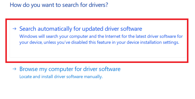 Search Automatically for Updated Driver