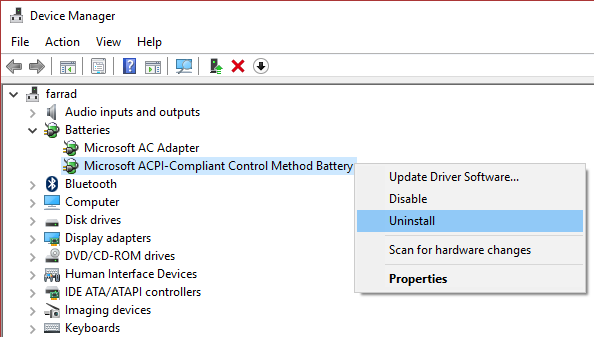 Uninstall Microsoft ACPI Compliant Control Method Bateery