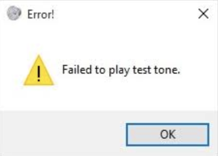 failed to play test tone error in windows 10