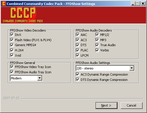 Install combined community codec pack