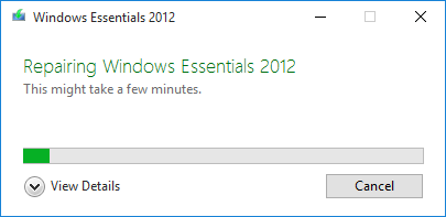 Windows Essentials Repair Process.