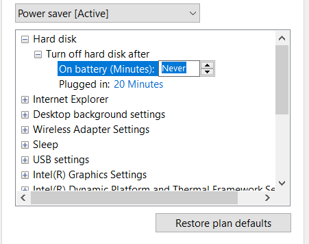 Turn off hard disk