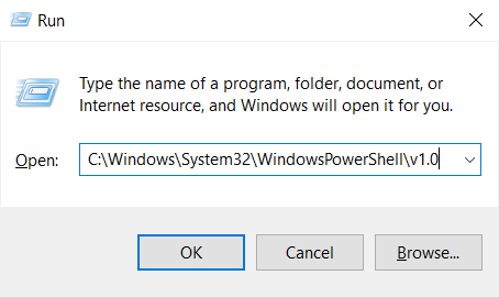Type in Run PowerShell