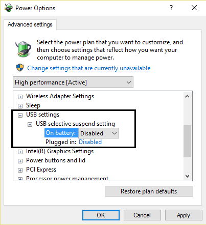 USB selective suspend setting