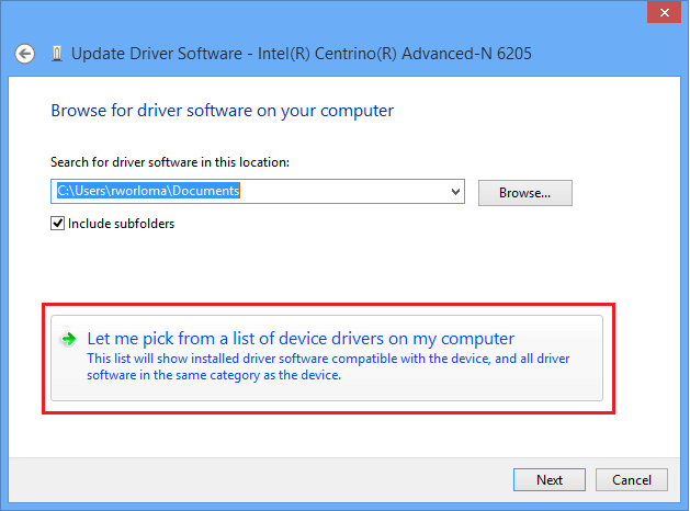 let me pick from a list of device drivers on a computer