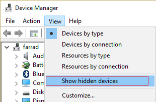 Show hidden devices