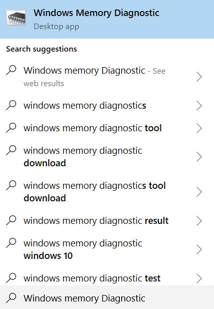 Type Windows Memory Diagnostic