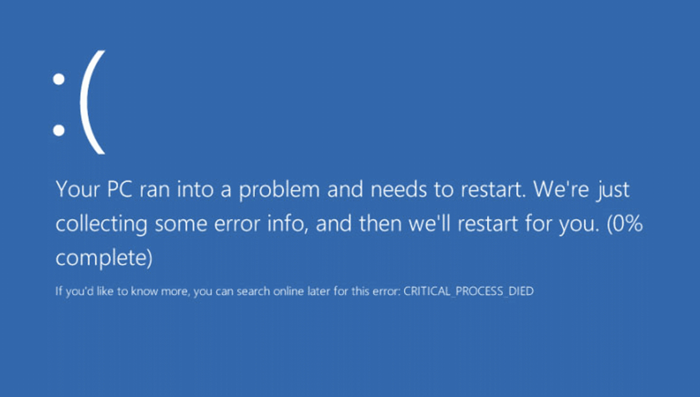 critical process died error in windows 10