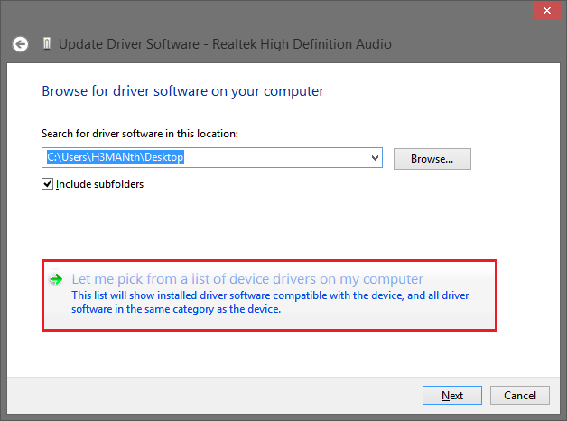 Let me pick from a list of device drivers
