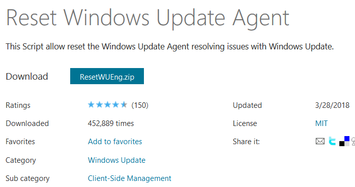 Reset Windows Update Agent