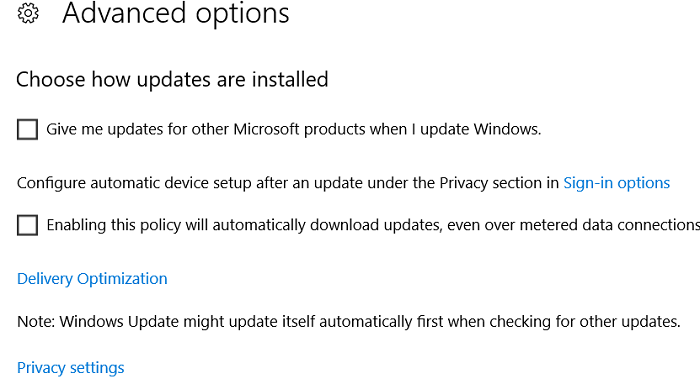 Uncheck the Option Give me Updates for other Microsoft Products