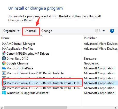 Uninstall Microsoft Visual C++ Redistributable