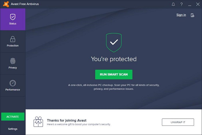 Avast Antivirus Dashboard