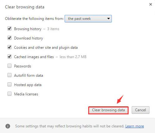 Clear Browsing Data Button