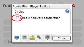 disable hardware acceleration flash player