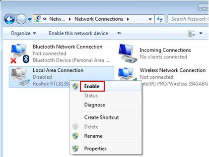enable disabled ethernet adapter