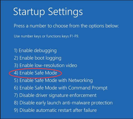 enable safe mode