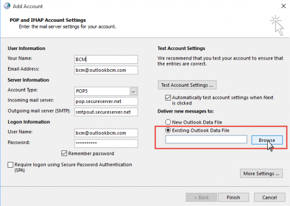 Choose Existing Outlook Data File