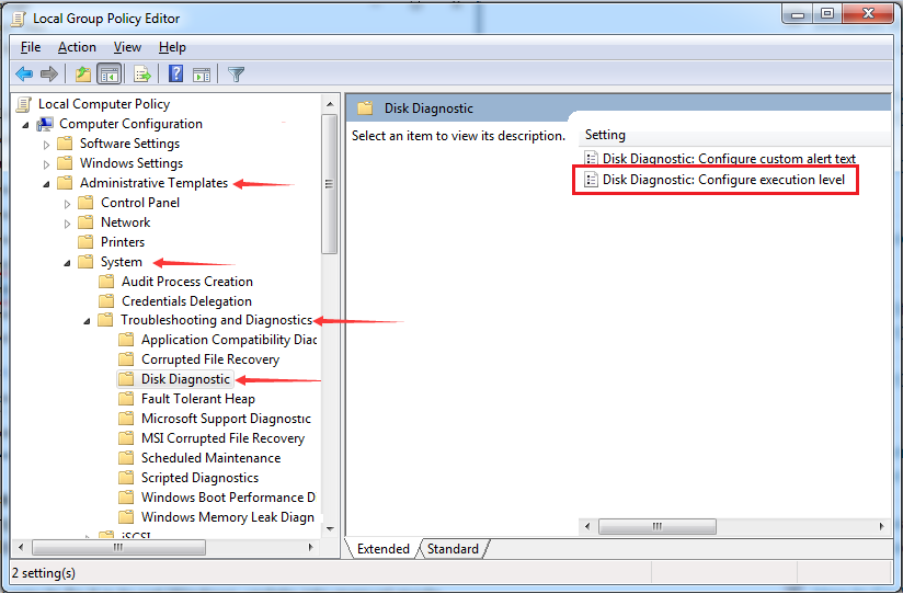 Disk Diagnostics: configure execution level
