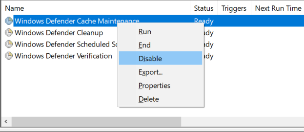 Disable Windows Defender Tasks