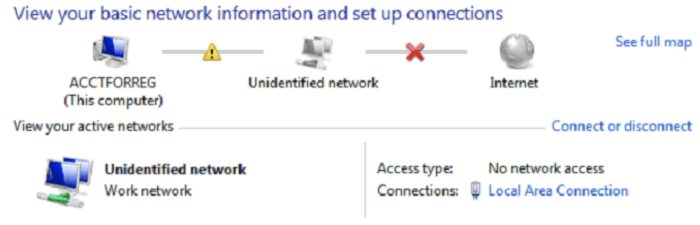 unidentified network no internet access in windows