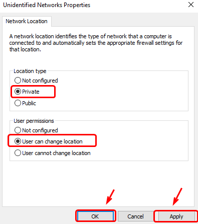 Change Location Type & User Permissions