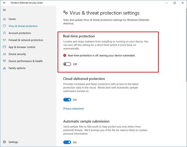 Disable Realtime Protection in Windows Defender