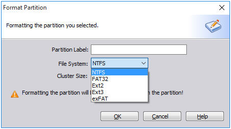 Set File System Partition Label