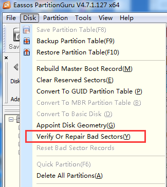 Verify or Repair Bad Sectors