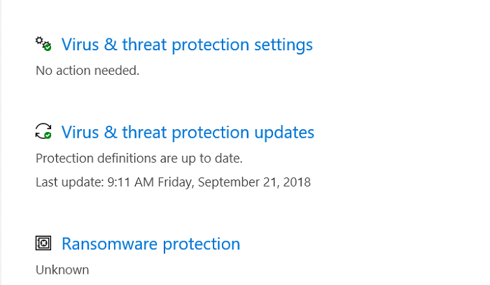 Virus & threat protection updates