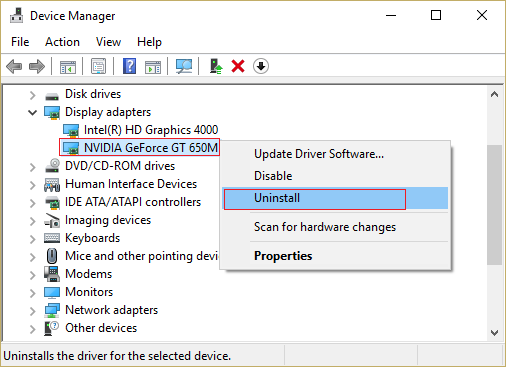 Uninstall NVIDIA Graphic Card Driver