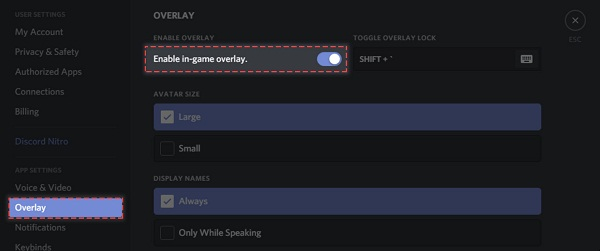 enable in game overlay