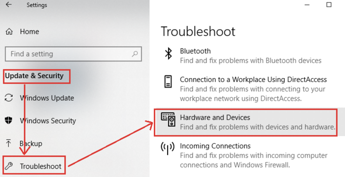 hardware troubleshooter