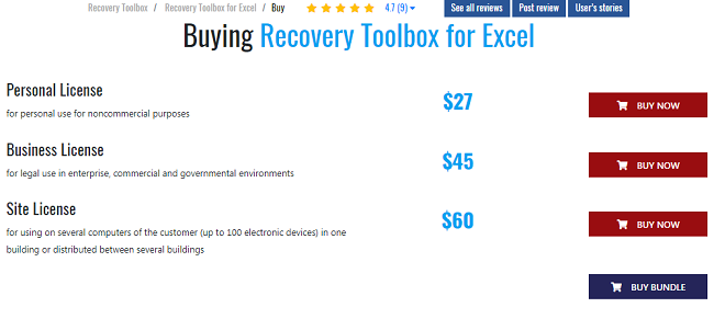 Pricing of Recovery Toolbox Microsoft Excel Recovery Software