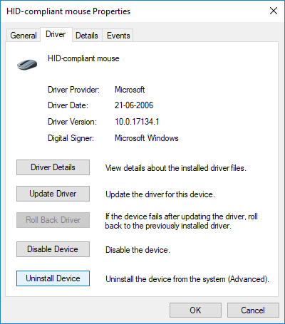 Switch to Driver tab then click Uninstall