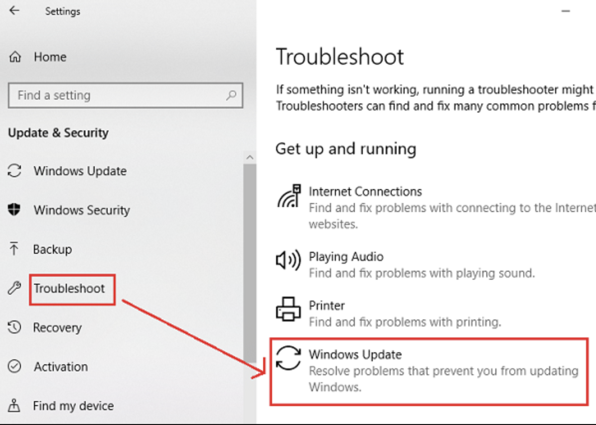 Windows update run troubleshooter