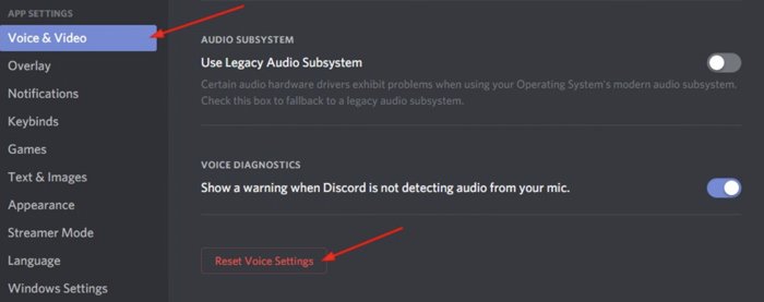 reset voice setting