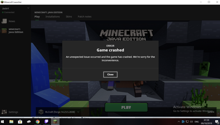 minecraft keeps crashing on launch windows 10