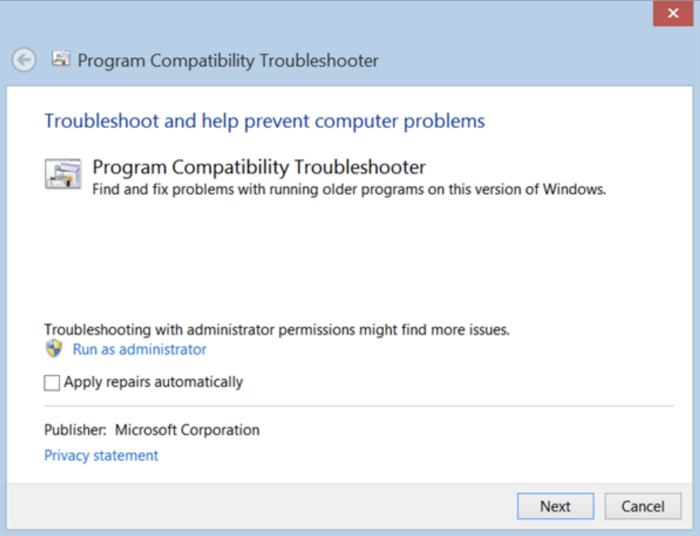 run compatibility troubleshooter option